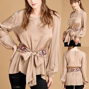 NEW Taupe Floral Embroidered Tie Waist Blouse Top